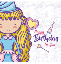 happy birthday card for girls vector image