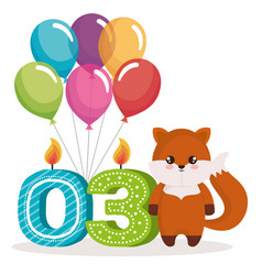 Happy birthday card with fox vector