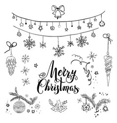 happy christmas sketch set vector image