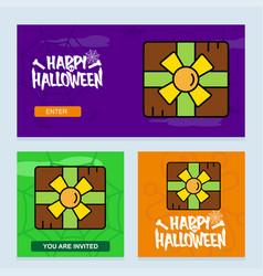 Happy halloween invitation design with giftbox vector