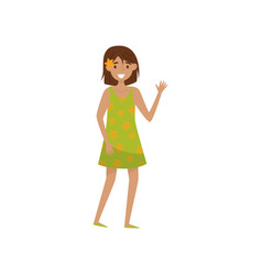 happy smiling girl waving her hand young woman vector image