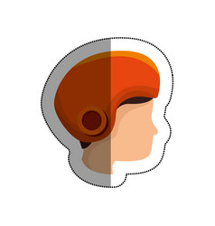head human with helmet motorcycle vector image