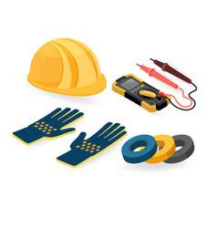 helmet gloves tester isometric construction vector image