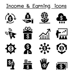 Investment income earning icon set vector