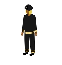 Isometric afro-american firefighter vector