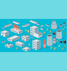isometric icon set factory production buildings vector image