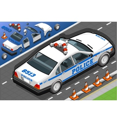 Isometric Police Car in Rear View vector