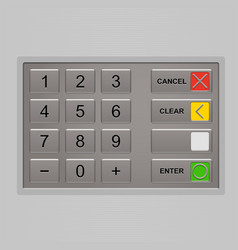 Keypad of automated teller machine vector image