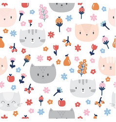 kids seamless pattern with cute cats funny vector image