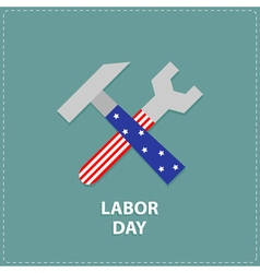 Labor day Wrench key and hammer icon vector
