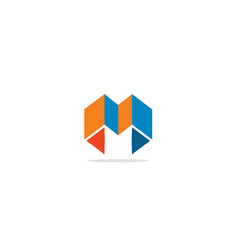 M initial shape colored logo vector