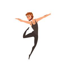 male ballet dancer character dancing cartoon vector image