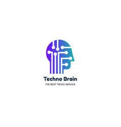 Man head and chip techno brain multimedia logo vector