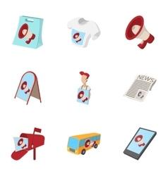 Marketing icons set cartoon style vector