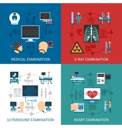 Medical Examination 4 Flat Icons Square vector