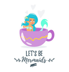 Mermaid character sitting in cup vector