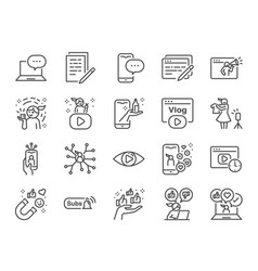 Micro influencer and blog line icon set vector