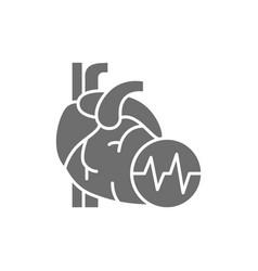 obesity heart visceral fat heart attack grey vector image