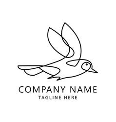 one line bird logo vector image
