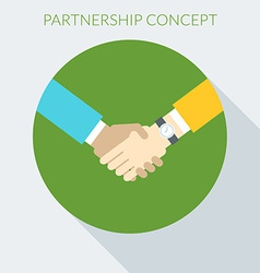 Partnership concept Handshake in flat desig vector