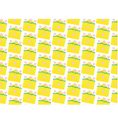 Pattern yellow envelopes flat vector