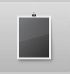 Realistic blank picture frame hanging vector