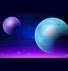 retro sci fi background with moon vector image