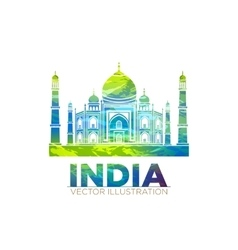 Retro World Wonder of Taj Mahal Palace in India vector image