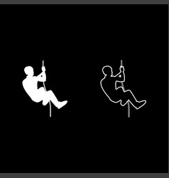 rock climber icon set white color flat style vector image