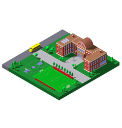 school building with soccer tennis field and vector image