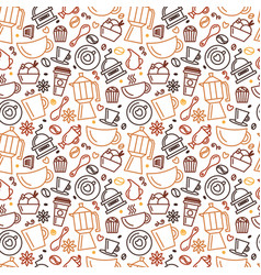 Seamless pattern for coffee theme line art draw vector