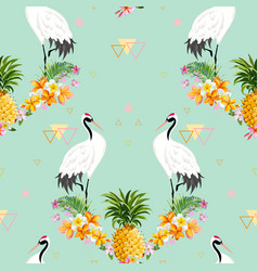 seamless pattern with japanese cranes and flowers vector image