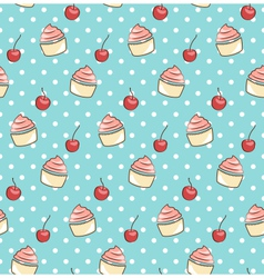 seamless sweet pattern with cupcake and cherry vector image
