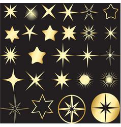 set different golden stars vector image