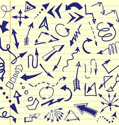 Set of hand drawn sketched arrows Doodle style vector