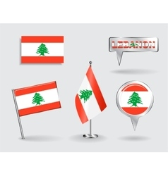 Set of Lebanese pin icon and map pointer flags vector