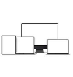 set of modern devices with blank frameless screens vector image