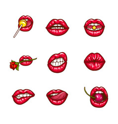Set of sexy female lips in red glossy lipstick vector