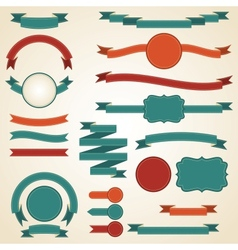 set retro ribbons and labels vector image