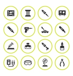 Set round icons of soldering vector