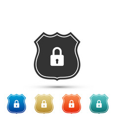 shield security icon isolated on white background vector image