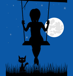 silhouette of the girl on seesaw vector image