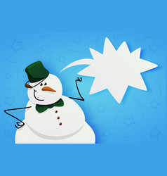snowman with green bucket and green bow tie vector image