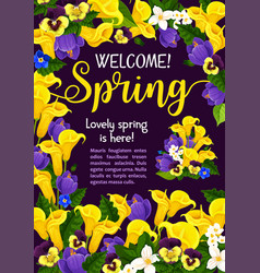 Spring season holiday welcome banner with flower vector