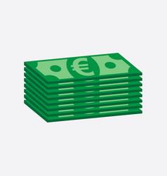 stacks money euro cash in flat design on white vector image