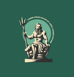 Statue of poseidon or neptune with a trident vector