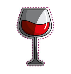 Sticker glass with wine icon image vector