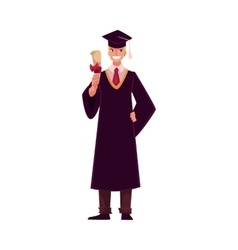 Student wearing traditional graduation gown and vector image