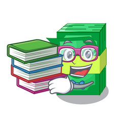 Student with book set money in packing bundles vector