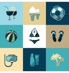 Summer vacation and beach flat icons vector image vector image